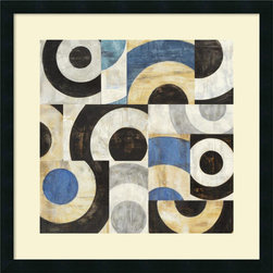 Amanti Art - Sandro Nava 'Addendum II' Framed Art Print 25 x 25-inch - Bring a little simple chic into your decor! This contemporary abstract, Addendum II, offers a staccato poetry of circular shape and tone.