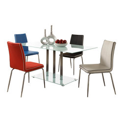 Homelegance - Homelegance Goran 5-Piece Frosted Dining Room Set with Blue Chairs - The minimalistic contemporary look of the Goran collection captures the clean aesthetic that you strive to achieve in your home. The glass tabletop and base are accented by vertical chrome finished supports. Your individual taste comes to the forefront in the chairs that you choose to accompany your table.