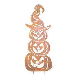 Rustica Ornamentals - Three Stacked Pumpkins Garden Stake - This handcrafted rustic Three Stacked Pumpkins Garden Stake will become a favorite among everyone. This will surly add some charm to your Halloween decor.