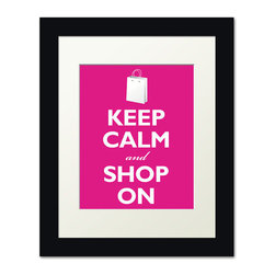 Keep Calm Collection - Keep Calm and Shop On, framed print (hot pink) - This item is an Art Print which means it is a higher-quality art reproduction than a typical poster. Art prints are usually printed on thicker paper, resulting in a high quality finish. This print is produced on a 270 gsm fine art paper stock.