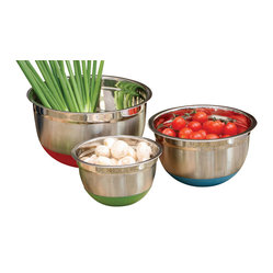 3-piece Colorful Stainless Steel Mixing Bowl Set with Nonskid Base