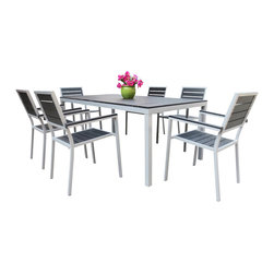 MangoHome - Outdoor Patio Furniture New Aluminum Resin 7-Pc Square Dining Table & Chairs Set - Outdoor Patio Furniture New Aluminum Resin 7-Piece Square Dining Table & Chairs Set