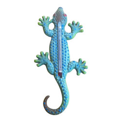 "AJ Tools - Cast Iron Gecko Hand Painted Thermometer - Cast iron gecko hand painted thermometer wall hanger. Measures 9 "" x 3 "". No assembly required."