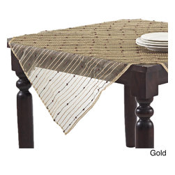 None - Sheer Table Topper with Fuzzy Stripes - Add a touch of understated elegance to kitchen decor with this beautiful table runner featuring a unique translucent design. The beautiful runner adds a distinctive style to contemporary decor.