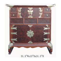 Korean Multiple Drawers Burl Wood Inlay End Table Cabinet - This is a Korean end table that has multiple drawers and shelves. This piece is surrounded by many beautiful brass strips. It was made in China by a Korean-run factory. This beautiful piece has two shelves, four small drawers and two hidden drawers. Each drawer has a beautiful metal handle. Especially, the front of cabinet is made of burl wood, and it looks gorgeous. You can use this piece as an storage for small items.