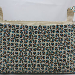 Reversible Tiny Owls Fabric Bin in Turquoise and Brown by Diva's Intuition - Perfect for book storage next to the reading chair!
