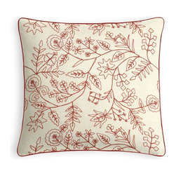 Red Stitch-Embroidered Floral Micro Corded Pillow - Every decorator knows: it�۪s the details that make a room.  That�۪s why we love the Microcord Throw Pillow with a thin piped edge that adds just a hint of color.  We love it in this red crewel embroidered floral on cream cotton. whether you take it classic, modern or rustic...this playful pattern will leave you in stitches.