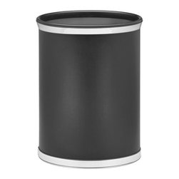Kraftware - Sophisticates Waste Basket in Black - Bumper. Polished chrome bands. Classic leatherette elegance. Made in USA. 10 in. Dia. x 12 in. H (1.5 lbs.)Always as appropriate as a formal Tuxedo at a reception.