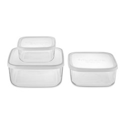 Glass Storage Containers Set, Square - These airtight, stackable glass containers are an attractive alternative to a bunch of mismatched plastic containers. I admit it: I could use these.