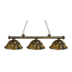 Z-Lite - Z-Lite Riviera 3 Light Billiard Light X-A41R-BA3-002 - Elegant and traditional best describes this beautiful three light fixture. Finished in antique brass and paired with decorative tiffany glass shades, this three light fixture would be equally at home in the game room, or anywhere else in the house needing a touch of timeless charm. 72 inches of chain per side is included to ensure a perfect hanging height.