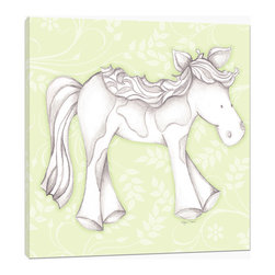 "Doodlefish - Princess Pony Green - Princess Pony is an 18"" x 18"" Gallery Wrapped Giclee Print that features a mix of graphical elements and a drawing of a pretty pony with a curly mane and tail.  Choose the background color and the background pattern to match your child's room,  Add your child's name or even your favorite pet.  This artwork is also available mounted in a painted frame of your choice.    The finished size of the mounted piece is approximately 22""x22""."