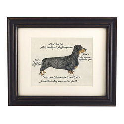 Ballard Designs - Dachshund Black & Tan Dog Print - Hand colored & signed. Printed on parchment. Eggshell mat. Antique black frame. Our Dachshund Black & Tan Dog Print was created by the dog-loving, husband and wife team of Vivienne and Sponge. The Dachshund is known for being alert, intelligent and playful. Each Dachshund portrait is hand colored and embellished with notes on the breed's special characteristics. Printed on antiqued parchment, signed by the artists and framed in antique black wood with eggshell mat and glass front. Dachshund Black and Tan Dog Print features:. . . .