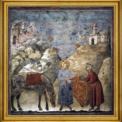 """Giotto Di Bondone-16""""x16"""" Framed Canvas - 16"""" x 16"""" Giotto Di Bondone Legend of St Francis: 2. St Francis Giving his Mantle to a Poor Man (Upper Church, San Francesco, Assisi) framed premium canvas print reproduced to meet museum quality standards. Our museum quality canvas prints are produced using high-precision print technology for a more accurate reproduction printed on high quality canvas with fade-resistant, archival inks. Our progressive business model allows us to offer works of art to you at the best wholesale pricing, significantly less than art gallery prices, affordable to all. This artwork is hand stretched onto wooden stretcher bars, then mounted into our 3"""" wide gold finish frame with black panel by one of our expert framers. Our framed canvas print comes with hardware, ready to hang on your wall.  We present a comprehensive collection of exceptional canvas art reproductions by Giotto Di Bondone."""