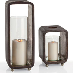 """Arteriors - Arteriors Slade Wood & Glass Hurricane - A modern rustic accent piece, the Slade's glass hurricane sits inside a rectangular wooden cube with rounded corners. Miniature metallic ball feet and mirror detailing offer a hint of bohemian glamour to this subdued candleholder by Arteriors. Available in 2 sizes; Wood, glass and iron; Black satin finish; Antique silver foil clad feet; Small: 9"""" Sq. x 13""""H; Large: 9"""" Sq. x 23""""H"""