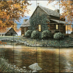 The Tile Mural Store (USA) - Tile Mural - Harvest Morning - Kitchen Backsplash Ideas - This beautiful artwork by Richard Luce has been digitally reproduced for tiles and depicts a tranquil cottage by a slow moving stream in the woodlands.  This woodland tile mural would be perfect as part of your kitchen backsplash tile project or your tub and shower surround bathroom tile project. Wood land images on tiles add a unique element to your tiling project and are a great kitchen backsplash idea. Use a woodland scene tile mural for a wall tile project in any room in your home where you want to add interesting wall tile.