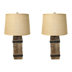 """ecWorld - Rustic Wood and Burlap Handcrafted 26"""" Table Lamp  - Set of 2 - Made with a modern rectangular design featuring a natural wood body bound on all sides with metal look stripping with rivets. The warm, rich wood grain glows under the warm light emitted from the tan tapered shade."""