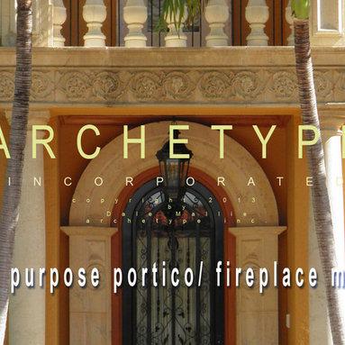 12.01   Dual Purpose Fireplace Mantel+Portico Header/ Hibiscus Motif -