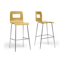 """Wholesale Interiors - Greta Nature Modern Bar Stools, Set of 2 - Our Greta Modern Bar Stools straightforward design brings a understated beauty to any kitchen or bar area. A light, natural birch-colored plywood seat sits atop a sturdy chrome-plated steel base with black plastic non-marking feet. The Greta Stool is made in China, requires minor assembly, and should be wiped clean with a dry cloth. This design is not stackable. The Greta collection includes a dining chair and bar stool, each offered in light wood and white finishes (each sold separately). Dimensions: 17.75"""" x 18.5""""D x 40.5""""H. Seat Dimensions: 16""""W x 14""""D x 28.5""""H."""