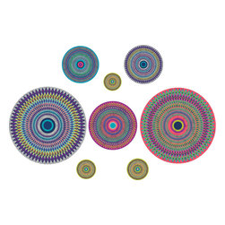 WallPops - Mandalay Wall Art Decal Kit - Named for the luxury hotel in Vegas, we are willing to bet that this exciting wall art will pique your interest! Spice up any spacewith these modern medallion decals. The Mandalay design comes with 8 vivacious circles in various sizes, each one packing a graphicpunch of vivid hues and an eye-popping print.
