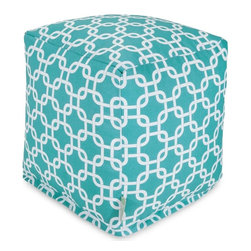 Majestic Home Goods - Teal Links Small Cube - Add style and color to your living room or outdoor seating arrangement with Majestic Home Goods teal links small cube ottoman. This cube is perfect for use as a footstool, side table or as extra seating for guests. Woven from outdoor treated polyester, these cubes have up to 1000 hours of U.V. protection and are able to withstand all of nature's elements. The beanbags are eco-friendly and feature a zippered slipcover. Spot clean slipcover with mild detergent and hang dry. Do not wash insert.
