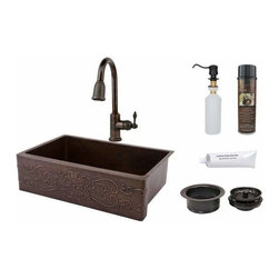 """Premier-Copper-Products - 33"""" Copper Apron Sink Scroll Design w/Faucet - KSP2_KASDB33229S Premier Copper Products 33 Inch Hammered Copper Kitchen Apron Single Basin Sink w/ Scroll Design with ORB Pull Down Faucet, Matching Drain, and Accessories."""