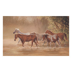 York Wallcoverings - Misty River Horses Giant Wallpaper Accent Mural - Features: