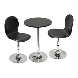 """Winsomewood - Spectrum 3-Piece Set, 20"""" Round Table with 2 Swivel Faux Leather Chairs - Great 3-piece dining table set is perfect addition to your contemporary home, game room or office. 29"""" round table made of MDF Table and metal base. 2 swivel faux leather seat chairs. Easy assembly."""