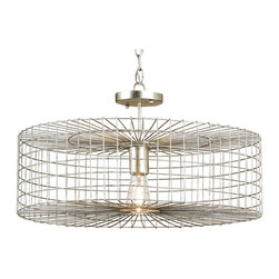 Kathy Kuo Home - Industrial Loft Silver Leaf Iron Cage Flush Mount Pendant Light - With six feet of chain to hang from, the options for placing of this ceiling mounted steel-frame industrial light are abundant.  Wherever you place it, a distinct, graphical diffusion of the frame will be cast.  Seriously modern and edgy, this is a great piece for lofts, apartments and spaces where making a strong statement is right at home.