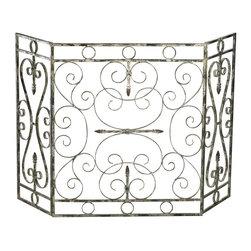 Cyan Design - Cyan Design Crawford Fire Screen, Distressed Antique White - -Distressed Antique White Finish