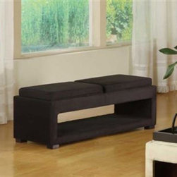 Armen Living - Armen Living Cancun Micro Fiber Double Tray Ottoman - LC6019BEMFBL - Shop for Benches from Hayneedle.com! Practicality meets modern living with the Armen Living Cancun Micro Fiber Double Tray Ottoman. As a perfect solution to smaller spaces the double padded seats can transform into trays adding extra seating or table space to virtually every corner of your home. About Armen LivingImagine furniture without limits - youthful robust refined exuding self-expression at every angle. These are the tenets Armen Living's designers abide by when creating their modern furniture collections. Building on more than 30 years of industry experience Armen Living combines functional versatility and expert craftsmanship into their dramatic furniture styles all offered at price points fit for discriminating budgets. Product categories include bar stools club chairs dining tables ottomans sofas and more. Armen Living is based in Sun Valley Calif.