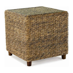 Wicker Paradise - Seagrass End Table - Tangiers - The Tangiers seagrass end table features a tempered glass top and wood feet.  Please note the glass top is no longer inset.