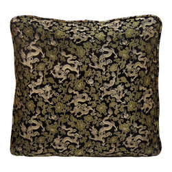 China Furniture and Arts - Silk Pillow - Dragon Motif, Black - Dragon, the symbol of prosperity and good luck is brocaded on the luxurious black silk. Mix or arrange decoratively on a sofa, bed, or chaise. Zipper cover removes for dry cleaning.