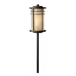 Hinkley Lighting - Ledgewood Landscape Path Light - Soft curves of Inside-Etched glass are encased by the delicate features of the Ledgewood collection frame. Comes in Museum Bronze finish. Takes 1 18 Watt Wedge Bulb.