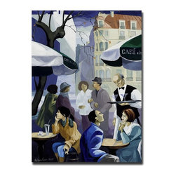 Trademark Global - Paris Cafe by Yelena Lamm Modern Wall Art Rep - Gallery Wrapped Giclee on Canvas. Ready to Hang. Artist: Yelena Lamm . Title: Paris Cafe. Style: Contemporary. Format: Vertical. Size: Large. Subject: People. Giclee on Canvas. Frame: 24 in. W x 1.5 in. D x 32 in. HYelena Lamm was born in Petersburg, Russia. She first began drawing in preschool, where her art teachers discovered that she had a very special talent. After secondary school, Yelena went off to study Fine Art & Restoration at Roerich College in Russia. Here she spent years restoring some of the most famous works of art from Museum Masters. In the early 90's Yelena decided to come to America, later settling in Andy Warhol's home town of Pittsburgh Pennsylvania. Here she attended the highly acclaimed Art Institute of PA. Here she received a Bachelor's Degree of Science in Graphic Design and a President's Award from the Institute. Yelena's career has emerged tremendously, and her art is part of the community.Giclee (jee-clay) is an advanced print making process for creating high quality fine art reproductions. The attainable excellence that Giclee printmaking affords makes the reproduction virtually indistinguishable from the original artwork. The result is wide acceptance of Giclee by galleries, museums, and private collectors.