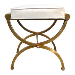 Empire Vanity Stool By Charles Hollis Jones - This elegant and sculptural brass stool with original white leatherette seat is my favorite.