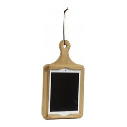 "Europe2You - Mini iPad and Cookbook Hanging Holder - This rustic wooden mini iPad hanging holder is sure to add charm to any kitchen, and is cleverly styled like a wood cutting board. Don't have an iPad? No problem! This can stand can accommodate your favorite cookbooks! It prevents messy pages and protects touchscreens from disastrous spills and smudges, use it daily to prop and peruse your recipe collection! You can even display it on your counter top or hang it as wall art by the rope loop as pictured. * Dimensions: 2""W x 13""H x 7""D"