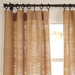 "Burlap Deep Pocket Drape - Burlap is a great fabric that goes with all sorts of styles, from French flea market to contemporary, and these curtains will add the texture to your windows with aplomb.50"" wide; available in four lengthsMade of kenaf.Hangs from the deep pole pocket for a casual, romantic look.Detailed with blind-stitched hems.Price shown is for 50'x63'"