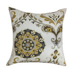 """The Pillow Collection - Orana Floral Pillow Brown Gray 18"""" x 18"""" - Add a homey vibe to your interiors with this charming floral throw pillow. A combination of geometric and floral pattern adorns this gorgeous accent pillow. The floral prints in shades of yellow, gray and brown are set against a white background makes this decor pillow an ideal highlight piece. Toss this square pillow on your couch, sofa, floor or bed. Made in USA and crafted using 100% cotton fabric. Hidden zipper closure for easy cover removal.  Knife edge finish on all four sides.  Reversible pillow with the same fabric on the back side.  Spot cleaning suggested."""