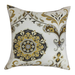 "The Pillow Collection - Orana Floral Pillow Brown Gray 18"" x 18"" - Add a homey vibe to your interiors with this charming floral throw pillow. A combination of geometric and floral pattern adorns this gorgeous accent pillow. The floral prints in shades of yellow, gray and brown are set against a white background makes this decor pillow an ideal highlight piece. Toss this square pillow on your couch, sofa, floor or bed. Made in USA and crafted using 100% cotton fabric. Hidden zipper closure for easy cover removal.  Knife edge finish on all four sides.  Reversible pillow with the same fabric on the back side.  Spot cleaning suggested."
