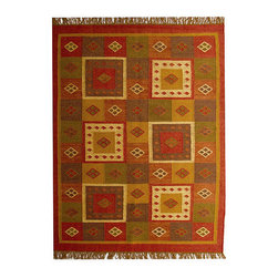 None - Hand-woven Jute Wool Rug (4' x 6') - Add a touch of style to your home decor with a hand-woven jute and wool mix rug Contemporary rug is created from a rich blend of jute and wool Elegant rug features shades of red,brown,red,green,gold and beige