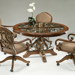 Pastel Furniture - Carmel 5 Piece Dining Table Set in Cosmo Sepia - CR510-548-16 - Set includes Table and 4 Arm Chairs