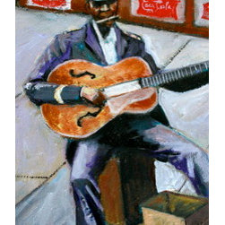 Stovepipe (Original) by Linda Lesperance - Old street musician plays his music for tips.