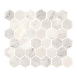 "Tile Circle - Aspen White Marble 2"" Hexagon Tile (Backsplash, Bathroom Wall, Floor), 12x12 - Perfect for kitchen backsplashes or bathroom floor and wall tile installations."