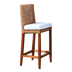 Hospitality Rattan - Hospitality Rattan Pegasus Rattan & Wicker Bar Stool - Close your eyes and fly away to an exotic island setting with the Pegasus Collection. This handmade collection is woven over in a spaced lattice pattern and is a very sleek and contemporary collection. The Large Plasma TV Holder has strong mahogany wood legs with a natural crushed bamboo laminate top eliminating the need for a glass. The Large Plasma TV Holder can accommodate a flat screen TV up to 65 inch in diagonal width. It also features shelf space perfect for placing your cable box or DVD player and also has cabinets which are perfect for storing away your movie collection. Combine the Large Plasma TV Holder with other items in the collection and begin your ascent into an ethereal haven of luxury and originality. Since 2000 Hospitality Rattan has been designing and distributing contract quality rattan wicker and bamboo furnishings. A variety of indoor and outdoor collections derived from the best possible materials is available for the furniture buyer who wants that tropical feel. Features include Fully Assembled Includes cushion as shown in beige fabric Constructed of commercial quality rattan poles Cushion as shown Beige color. Specifications Finish: Natural Material Type: Mahogany Wood Frame Woven Cane peel.