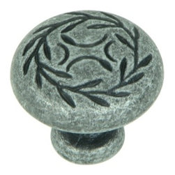 "Stone Mill Hardware - Stone Mill Hardware -Meadow Brook Swedish Iron Leaf Cabinet 1 1/4"" Knob - Swedish iron finish. Round knob with a branch and leaves engraved around the top circling a smaller engraved design. Solid, high-quality cabinet hardware."