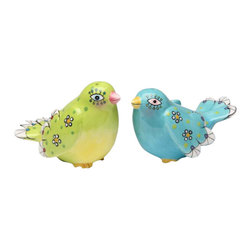 ATD - 3 5/8 Inch Blue and Green Birds with Flower Design Salt and Pepper - This gorgeous 3 5/8 Inch Blue and Green Birds with Flower Design Salt and Pepper has the finest details and highest quality you will find anywhere! 3 5/8 Inch Blue and Green Birds with Flower Design Salt and Pepper is truly remarkable.