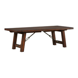 Arden Ridge trestle table - This trestle table features bold industrial hardware and beautiful metal rivets for enduring style.