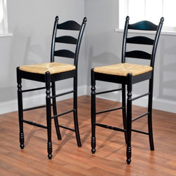 "TMS - 30"" Ladder Back Stool in Black (Set of 2) - Traditional design, expert craftsmanship and sturdy construction is what you will enjoy with your set of ladderback stool. Constructed of rubberwood finished in black with woven rush seat. Stool also features turned legs and the classic triple slat ladder back. Features: -Set of two ladder back stools. -Black finish. -Rubberwood construction. -Woven rush seat. -Assembly required. -Seat height: 30 inches. -Dimensions: 46"" Height x 18.75"" Width x 17"" Depth."