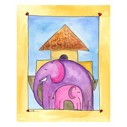 Oh How Cute Kids by Serena Bowman - Mod Ark Elephant, Ready To Hang Canvas Kid's Wall Decor, 16 X 20 - Every kid is unique and special in their own way so why shouldn't their wall decor be so as well! With our extensive selection of canvas wall art for kids, from princesses to spaceships and cowboys to travel girls, we'll help you find that perfect piece for your special one.  Or fill the entire room with our imaginative art, every canvas is part of a coordinating series, an easy way to provide a complete and unified look for any room.