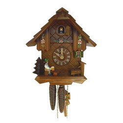 Schneider Cuckoo Clocks - 1-Day Black Forest House and Flowers Cuckoo Clock - Chalet style. 1-day rack strike movement. Wooden cuckoo, dial with roman numerals and hands. Wooden cuckoo. Cuckoo calls wooden hand carved and painted beerdrinker moves every half and full hour. Shut-off lever on left side of case silences strike, call and music. Made from wood. Made in Germany. 7.9 in. W x 6.7 in. D x 8.7 in. H (5.5 lbs.). Care Instructions